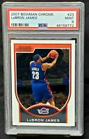2007 Bowman Chrome #23 Lakers LEBRON JAMES Basketball Card PSA 9 MINT - Pop 93