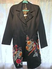 Biya Johnny Was Embroidered Black Long Coat Jacket S - Elaborate Birds Floral