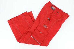 Kik Girl Vintage 90s Crack the Code Juniors Wide Leg Pants Sz 9 Bright Red Nylon