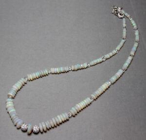 "Opal 4mm-10mm Round Graduated Fire Opal Necklace Rhinestone .925 Silver 18"""