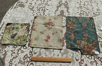 3 Antique 19thC French Cotton Jacquard Tapestry Fabric Samples