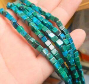 "Natural 5x5mm Brazilian Green Azurite Cube Gemstone Strand Loose Beads 15"" AAA"