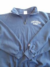 USMC MARINE CORPS CAMP ARIFJAN NAVY BLUE ATHLETIC PT MOCK T-NECK SWEATSHIRT XL