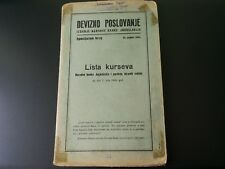 Rare list of courses of the National Bank of Yugoslavia 1964