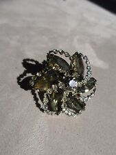 One Weiss Clip Earring ( Scarf Clip!) Smoky Green/Brown Marquis & Rhinestones