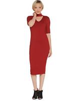 G.I.L.I. Peached Knit Elbow Length Sleeve Dress with Cutout -Red Dahlia - 1X