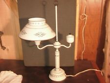 Vintage White/Creme Tole Student Desk Lamp with Metal Shade