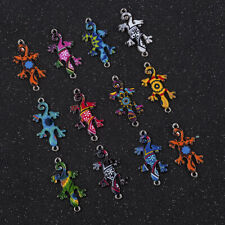 Wholesale 10PC Mixed Gecko Connectors Charm DIY Necklace Jewelry Making Cute