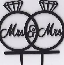 "Black Acrylic Cake Topper ""Mrs & Mrs Diamond Ring"" Wedding Engagement Decor"