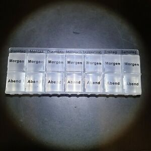 7 Tage Pillendose je 2 Fächer Morgen & Abend - Medikamentenbox Tablettenbox Box