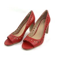 DKNY Women's Size 6 Red Cut Out Leather Peep Toe Classic Pumps Heels K1788369
