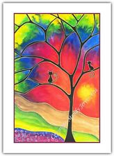 Rainbow Tree Cats - Watercolour Print Greeting Card - Birthday / Notelet / Blank