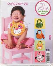 KWIK SEW SEWING PATTERN 131 APPLIQUED BABY BIBS - ALLIGATOR PUPPY KITTEN  & LAMB