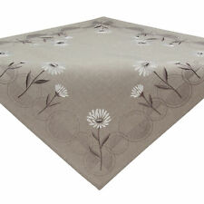 Tablecloth Table Topper Daisy Flowers Embroidery Gray White Polyester 34 x 34""