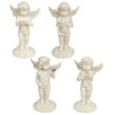 Free Standing Cherubs Set of 4 Holding Mineral Stone Angel Ornaments Figurines