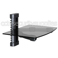Tempered Glass Rack Shelf Stand Wall Mount Bracket TV DVR DVD Cable Box Black