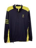 Adidas 1/4 Quarter Zip Pullover Men's Medium Green And Navy Blue Golf