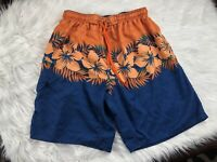 Hawaiian Tropical Aloha Floral Swim Trunks Shorts Adult L Large Blue Orange Mens