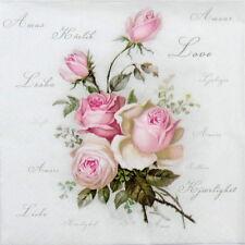 20x Cocktail Paper Napkins Serviettes Tableware Party Decoupage - Love Rose