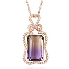 Luxury Mystic Topaz Zircon Rose Gold Geometric Women Jewelry Pendant Gift ND623