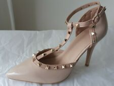 NEW LADIES BEIGE/NUDE PATENT STUDDED T- BAR SPECIAL OCCASION SHOES SIZE UK 5