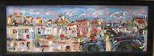 Vintage Mid Century Modern Abstract Cubist Oil Painting Cityscape Landscape