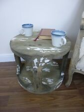 Lamp/Side Table - Coffee Table - Weathered Oak & White Finish