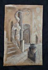 Remedios Varo drawing on cartonboard, vintage, rare,