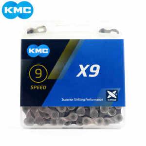 KMC X9 9 Speed Chain fit Shimano SRAM MTB Hybrid Road Bike 116L Silver/Grey