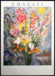 "Marc Chagall ""Bouquet de Fleurs"" Offset Lithograph Poster approx. 25"" x 35"" OBO"