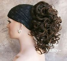 Medium Brown Ponytail Extension Curly Claw Clip on Hair Medium Length Hairpiece