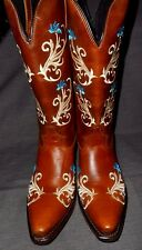 NEW GYPSY ROSE TAN HARD WAX EMBROIDERED DESIGN WESTERN BOOTS  8M