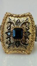 Renaissance Antique Edwardian 18K Gold Platinum Sapphire Diamond Dinner Ring 7.5