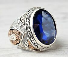 Turkish Jewelry 925 Sterling Silver blue SAPPHİRE stone Mens ring ALL SİZE uss