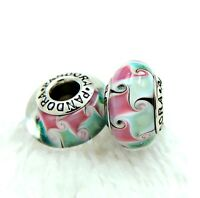 2 Authentic PANDORA Silver 925 Murano Charm Pink  Flowers Clear Beads #246