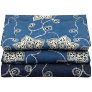 Embroidered Denim Fabric Cotton Blend Floral Hollow Out Cloth DIY Sewing Craft