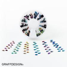 Nailart-Rondell - Strass-Mix oval - 6 Farben schwarz irisierend - 1702-039