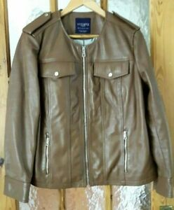 """VIOLETA By MANGO Brown Soft Real Leather Biker Style Jacket Size: 42"""" Chest"""