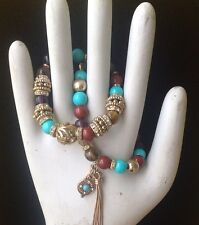RJ Graziano 5 bracelet set stretch bangles World Exotic faux gemstone NWOT