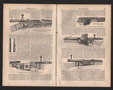 Lithografie 1900: Handfeuerwaffen. Repetier-Gewehr Waffen Magazin Spencer Lee