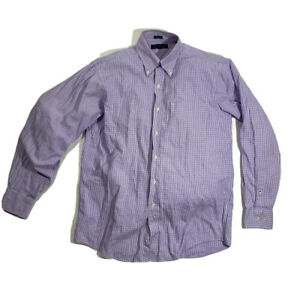 Tommy Hilfiger Purple White Plaid Button Down Up Long Sleeve Shirt 15-1/2 34-35