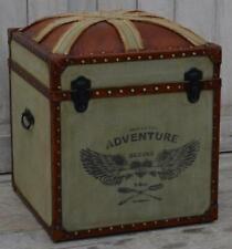 Canvas & Leather Trunk - Union Jack Seat - Footstool - Storage Ottoman 52cm High
