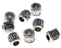 25 Metallperlen Spacer 6mm Antik Silber Röhre Schmuckherstellung DIY BEST M59C
