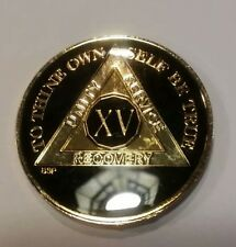 """15 Year AA Coin BLACK Enamel, Gold, Silver 1⅜"""" Traditional Size Recovery XV"""