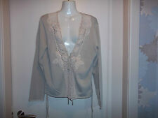 womans beige tie close cardigan  size med/large approx in good condition