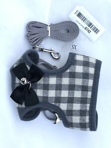 Gray Checked Dog Harness With Bow and Bell & Leash Size XS