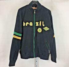 Vintage Point Zero Men's Brazil Soccer Full Zip Black Track Jacket Size XL