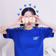 Ulzzang Short sleeve Blue Printed sweet letter stamp student women TOP T-shirt