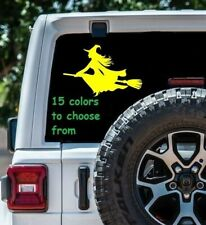 8 Sizes Witch on Broom Car Window Decal Sticker Macbook Laptop Tablet Wall Gift