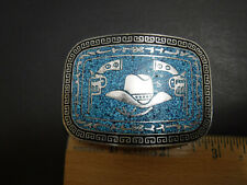 TAXCO SILVER BELT BUCKLE CRUSHED TURQUOISE COWBOY HAT / PISTOLS